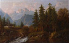 Kaufmann, Karl (1843-1902/03)/ Pseudonym F. Rodek - Flusstal in den BergenIdyllische Darstellung