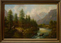 Kaufmann, Karl (1843-1902/03)/ Pseudonym F. Rodek - Flusstal in den BergenGroßformatiges Gemälde mit