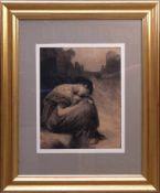 Unsigniert - Bettlerin Kohlezeichnung um 1900Melancholische Darstellung einer weinenden Frau, die in