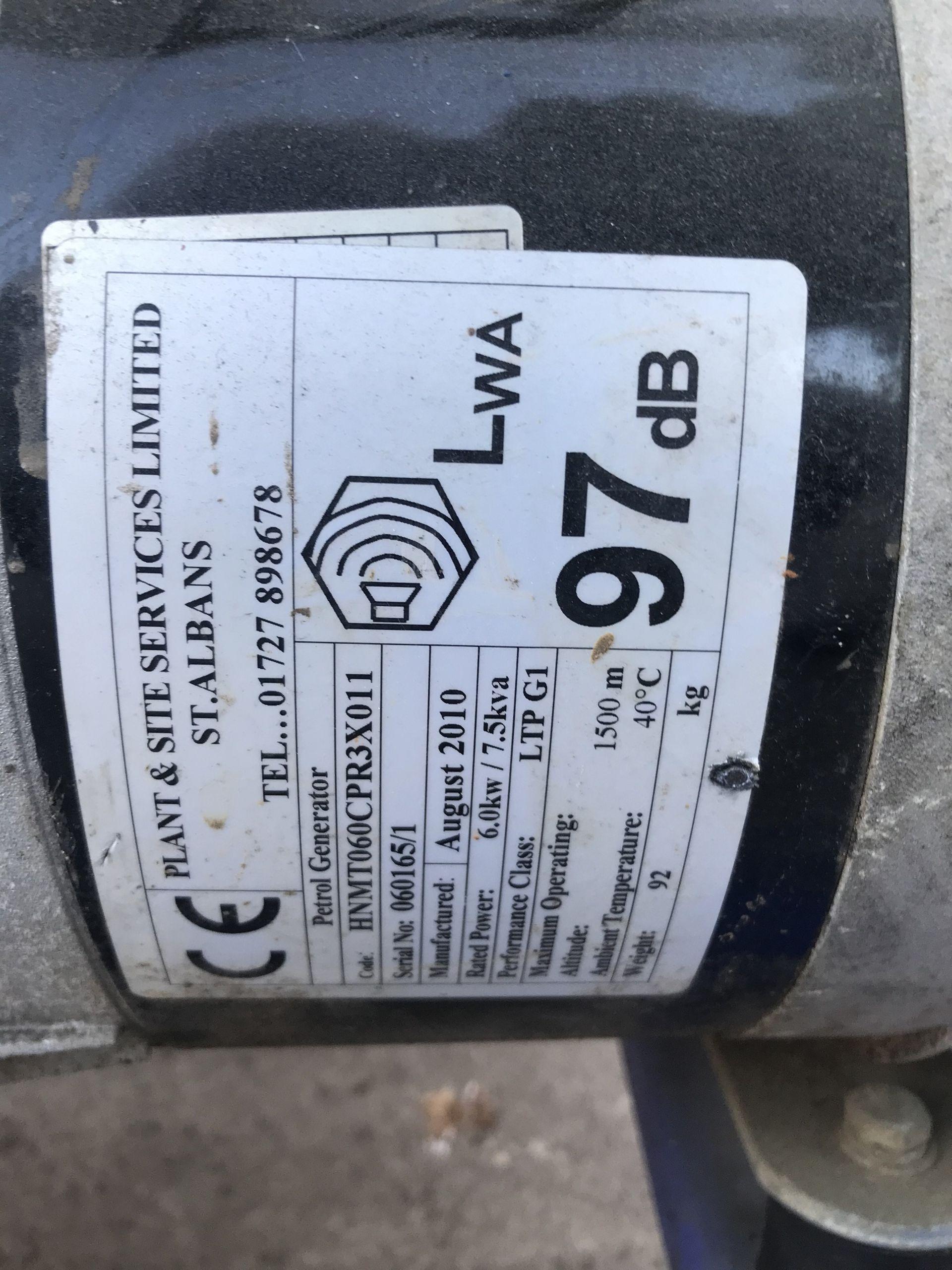Lot 88 - 7.5 KVA PETROL GENERATOR, C/W HONDA GX 390 PETROL ENGINE 240/110V, YEAR 2010 *PLUS VAT*