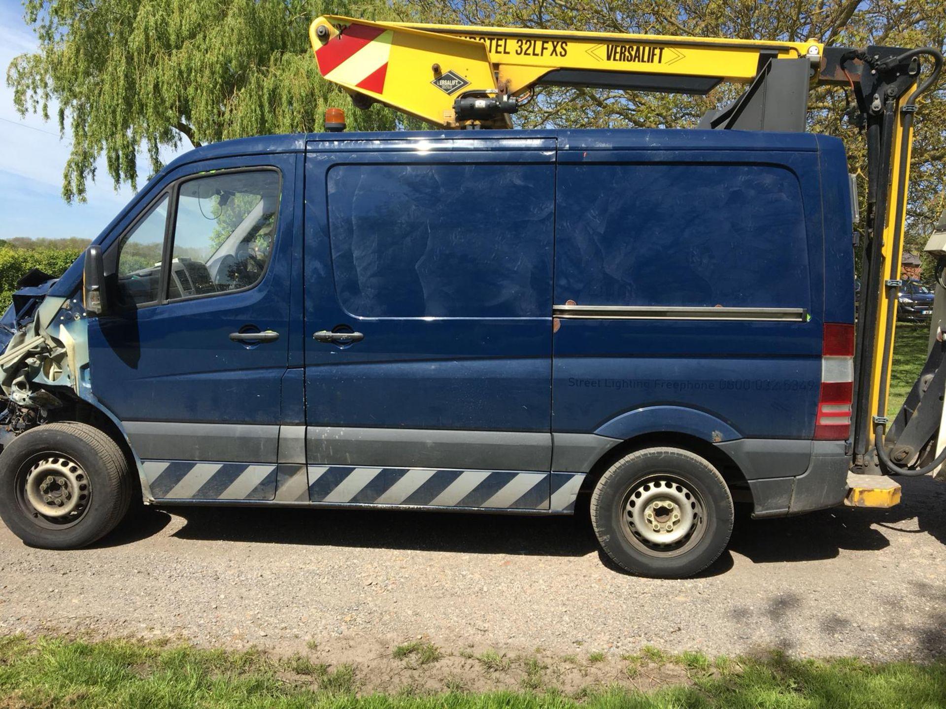Lot 37B - 2012/62 REG MERCEDES-BENZ SPRINTER 310 CDI 2.2 DIESEL BLUE CHERRY PICKER PANEL VAN *PLUS VAT*