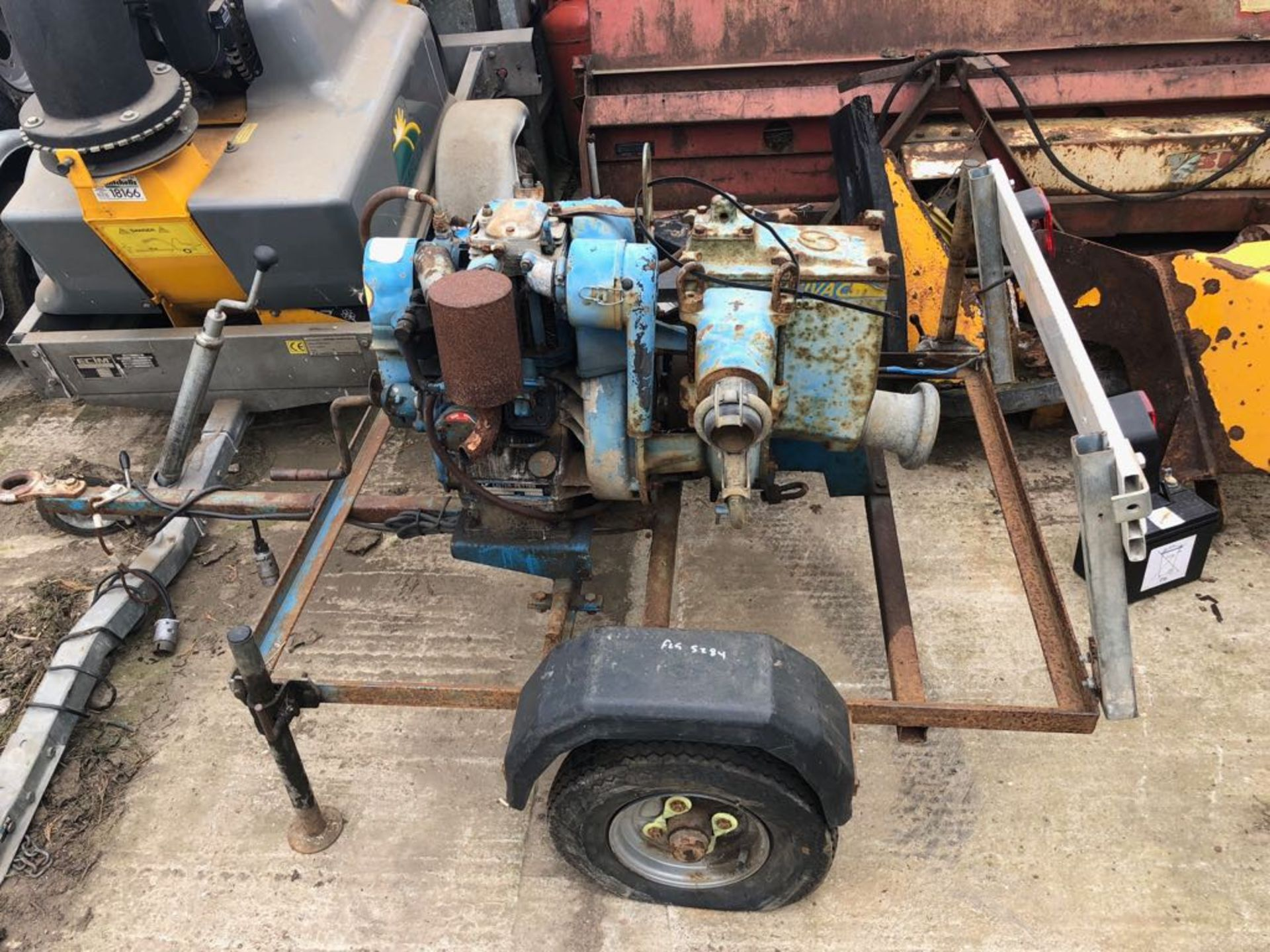 Lot 150 - ANDREW SYKES UNIVAC LISTER PETTER WATER PUMP ON TRAILER - UNTESTED *PLUS VAT*
