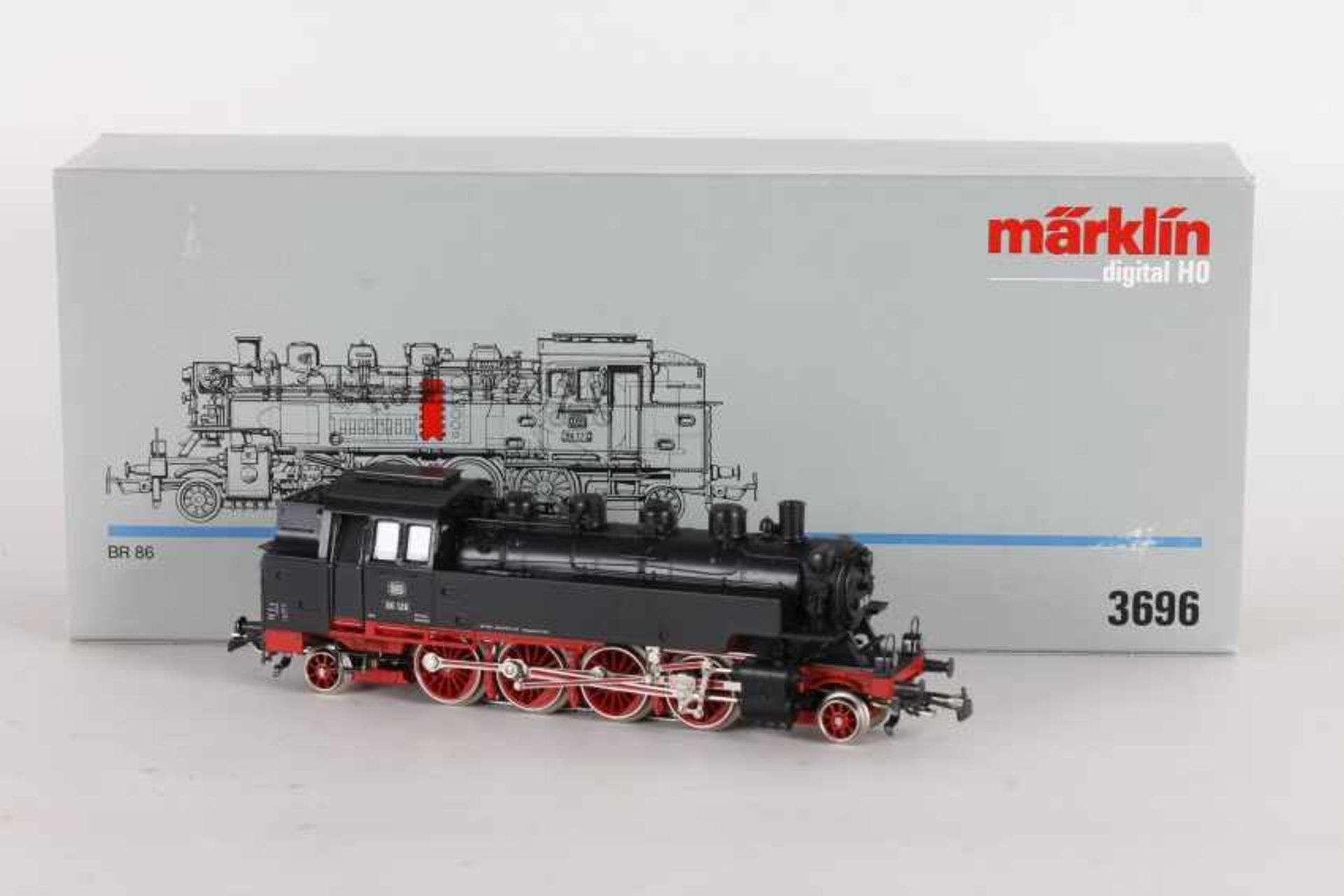 """Los 1028 - Märklin 3696, Tenderlok """"86 128"""" der DBMärklin 3696, Tenderlok """"86 128"""" der DB, BR-Schild erhaben,"""