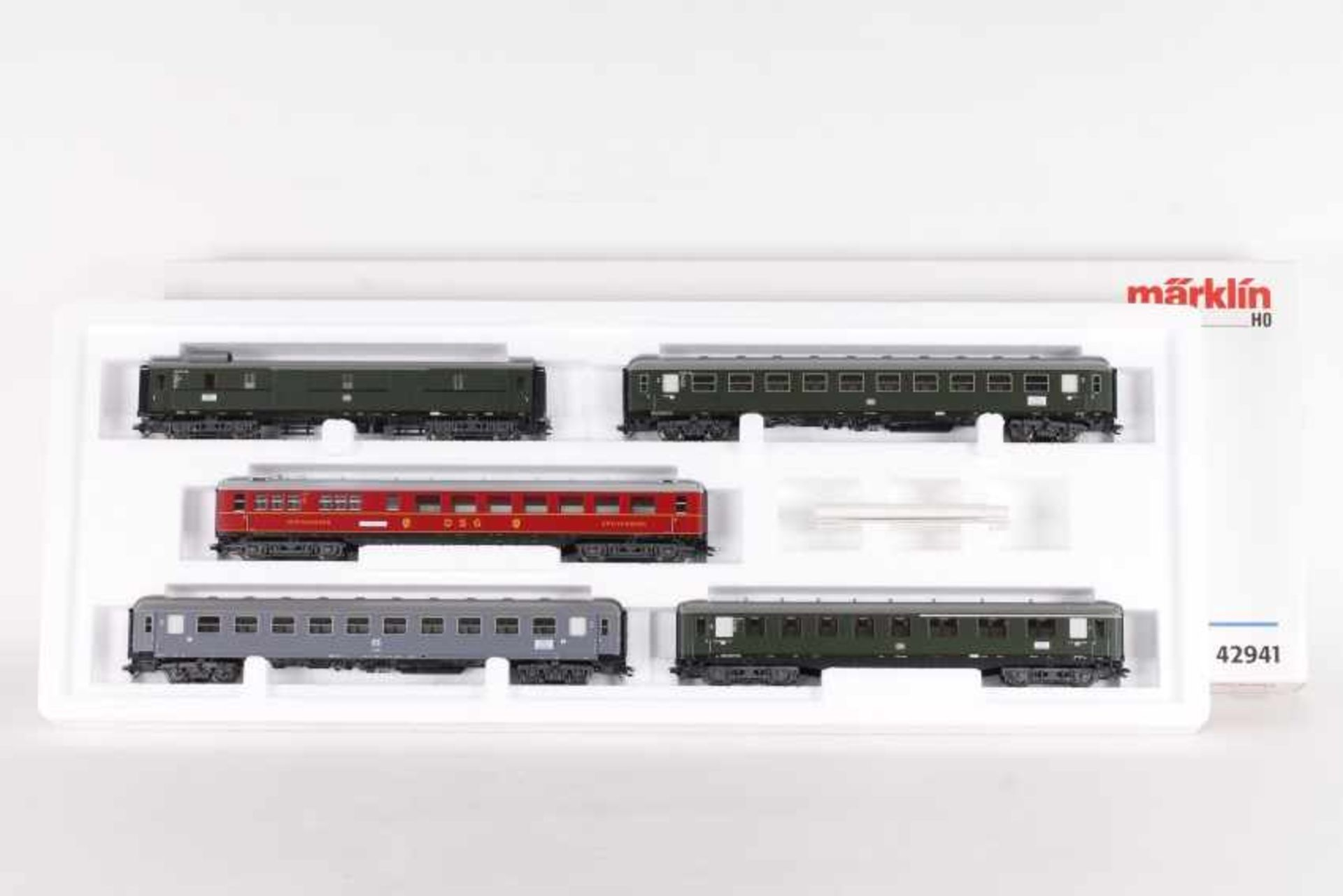"""Los 1002 - Märklin 42941, Wagen-Set """"Riviear Express""""Märklin 42941, Wagen-Set """"Riviera Express"""", fünf"""