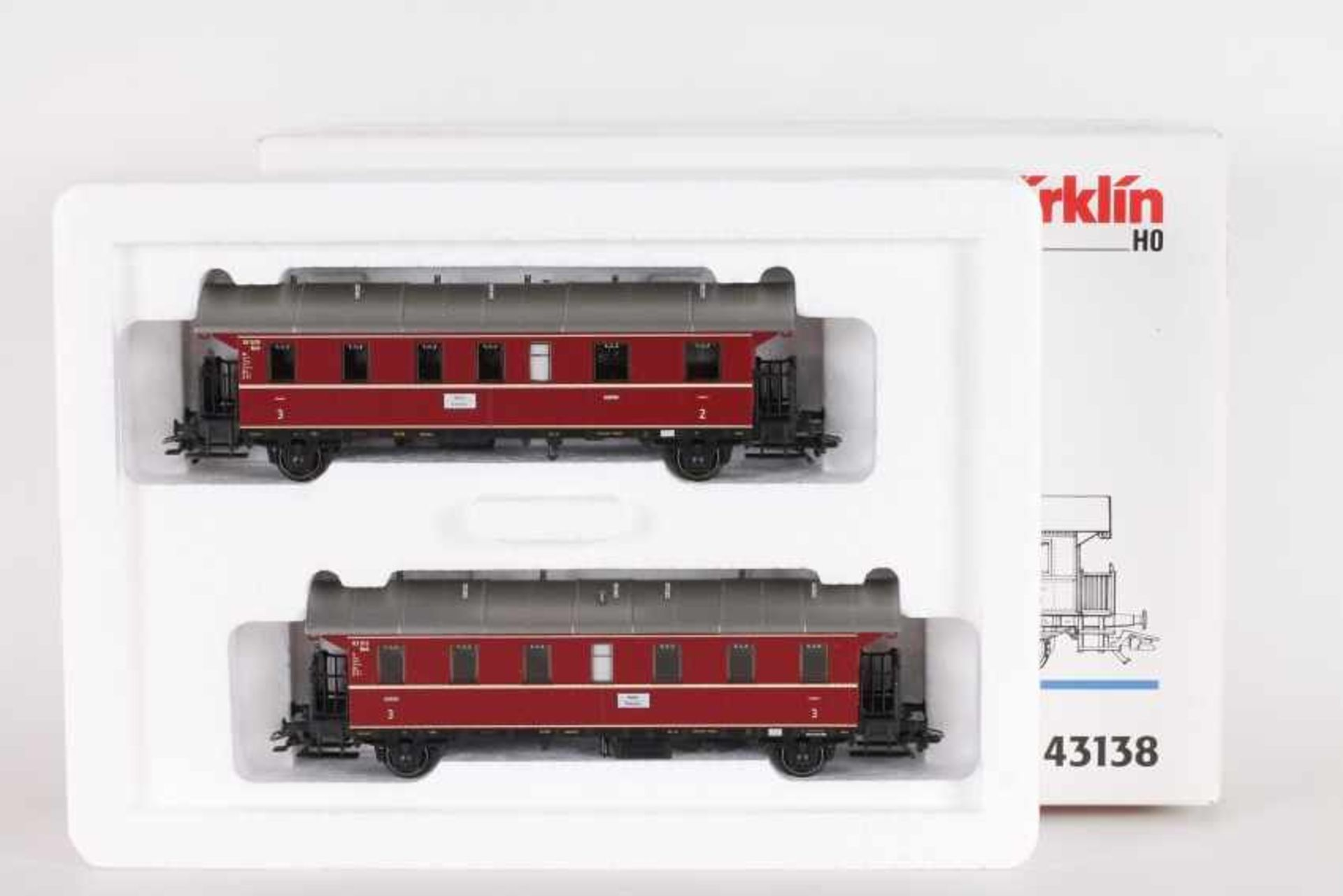 """Los 1003 - Märklin 43138, Wagen-Set """"Donnerbüchsen""""Märklin 43138, Wagen-Set """"Donnerbüchsen"""", zwei rote Wagen,"""