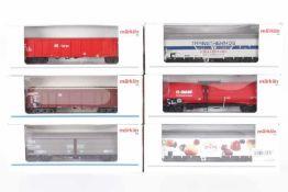 Märklin, sechs GüterwagenMärklin, sechs Güterwagen, 4726, 4734, 47190, 47323, 47561.003, 48163, sehr