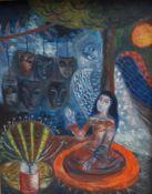 """BENNER-ROYE, Marga, arb Aachen, Schriftstellerin und Malerin, Öl/Spanplatte, """"Die Insel"""", re u"""