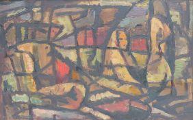 ANONYMUS/MA, Öl/Platte, Abstrakte Komposition m Akt/Rückenfigur, 26,5 x 41,5, GR