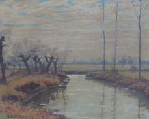BELL, Arthur, *1876, +1966, Düsseldorfer Schule, Öl/Platte, Flusslandschaft, Dorf, li u sign, 39 x
