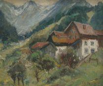 FRESE, T.H., Süddeutsche Schule, Mitte 20.Jh., Öl/Holz, Gehöft in alpiner Landschaft, re u sign,