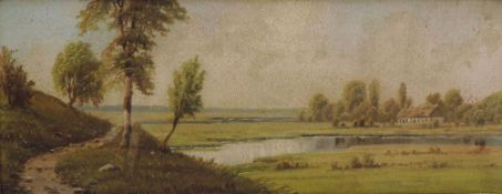 BILBURG, Gust, Öl/Platte, Hof in Flusslandschaft, u mittig sign u dat 1897, 14 x 35, GR