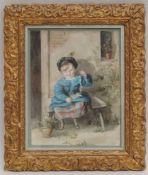 ENGLISCHE SCHULE, 19. Jh., um 1870, Aquarell, junges Mädchen m Blumen, 22,5 x 17,5, h G, pp, GR