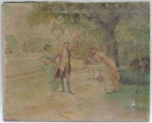DIDIER, Jean, Pariser Schule, 19./20. Jh., Öl/Lw, Spielerische Gartenszene, re u sign, 68,5 x 55,