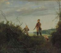 BLECHEN, Carl, zugeschr, *1798, +1840, Öl/Lw, doubliert, 2 Jäger mit Hund in Landschaft, 25,5 x