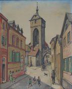 ERBACH, ALois, *1888 Wiesbaden, +1972 ebenda, (Vol II/46), Öl/Lw, städtische Szene, li u sign, 59