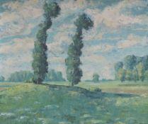 ARNOLD, Öl/Lw, Landschaft m 2 Bäumen u Wolken, 56 x 66, GoldHR