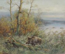 ANONYMUS/MA, 2.H.20.Jh., Öl/Lw, Wildschweinkeiler in Uferböschung, li u unleserl sign, 49 x 59, GR