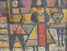 ANONYMUS/MA, Öl/Platte, Abstrakte Komposition, Figuren, unsign, 24 x 31, GR