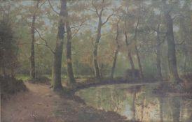 DEUTSCHE SCHULE, Öl/Holz, idyllische Waldlandschaft m Flusslauf, re u unleserl sign, 47 x 73, GR