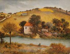 """GHIGLION-GREEN, Maurice, französischer Naiver, *1913, +1989, Öl/Lw, """"Paysage au pécheur"""", Landschaft"""