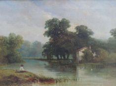 DAVID, Richard B., tätig zw 1866-1870, Vereinigtes Königreich, Öl/Lw, Flusslandschaft m Angler u