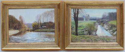 GRAM, J., Öl/Platte, Paar Landschaften, re u sign, 1 dat (19)80, je 18 x 23, GR