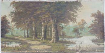 DE GROOT, J., Niederländische Schule, 20.Jh., Öl/Lw, Waldweg an See, li u sign, 40 x 80, leichte