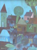 HANSCH, Öl/Lw, Deutscher Naiver, blaues Dorf, li u sign u dat (19)69, 80 x 60, HR
