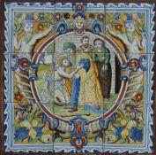FLIESENTABLEAU, Niederlande, 19-Jh., blau und polychrom, 9-tlg, Stil Ranaissancefayencen des 16.Jh.,