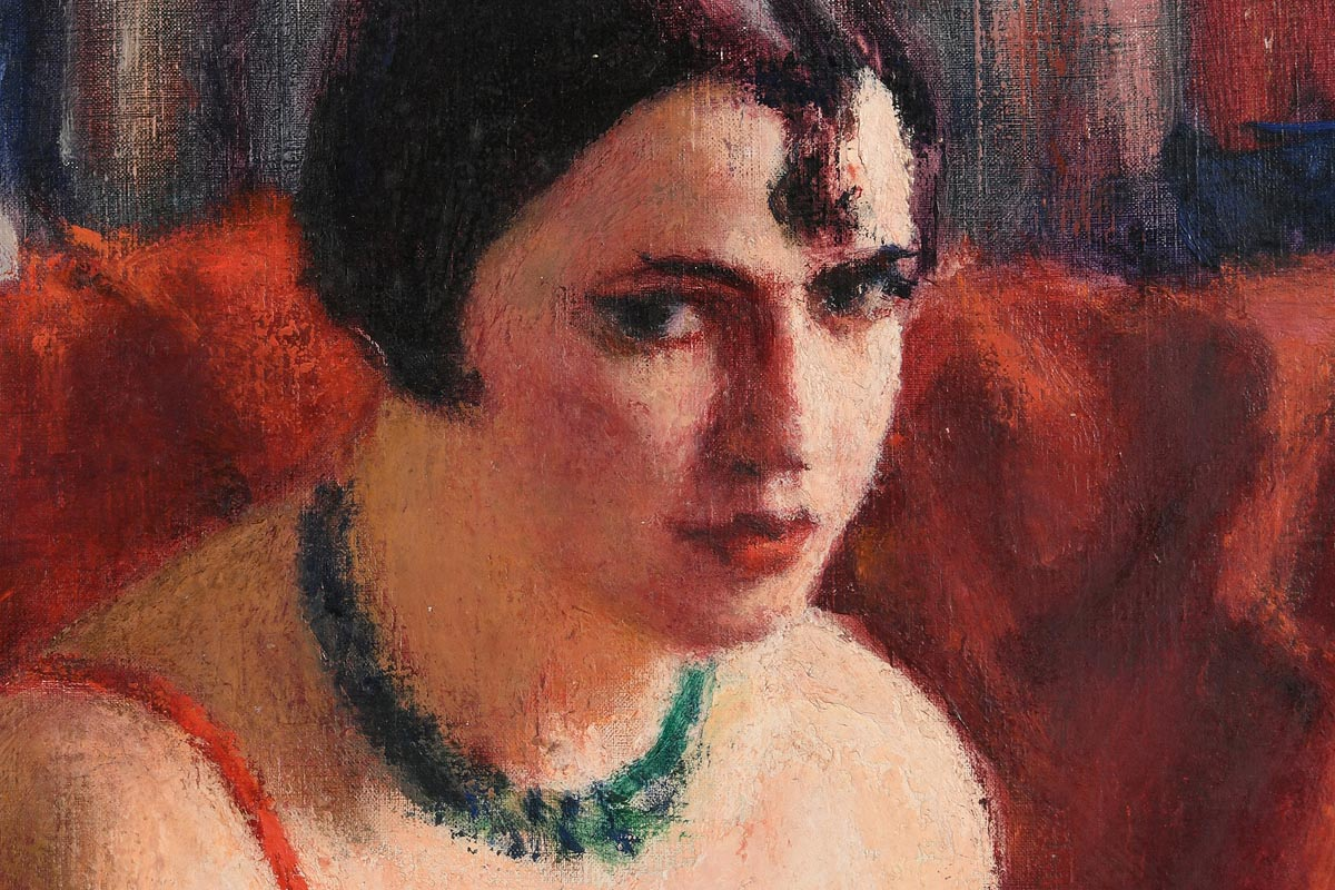 Lot 41 - Roderic O'Conor RHA (1860-1940) Seated Woman in a Red Dress (c.1923-6)