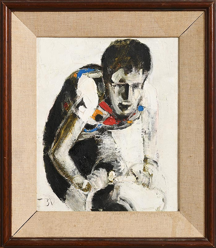 Lot 3 - John Brian Vallely (b.1941) Sean Kelly Sprinting for the Line (1986)