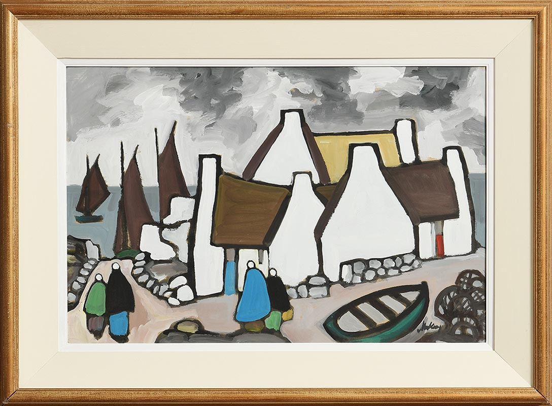 Lot 23 - Markey Robinson (1918-1999) West of Ireland Fishing Village