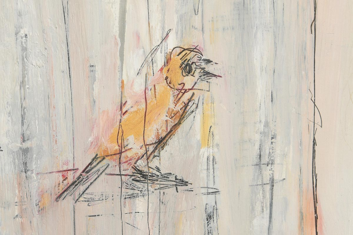 Lot 55 - Basil Blackshaw HRHA RUA (1932-2016) Bird Cageoil on boardsigned top right and titled69 x 63½cm (