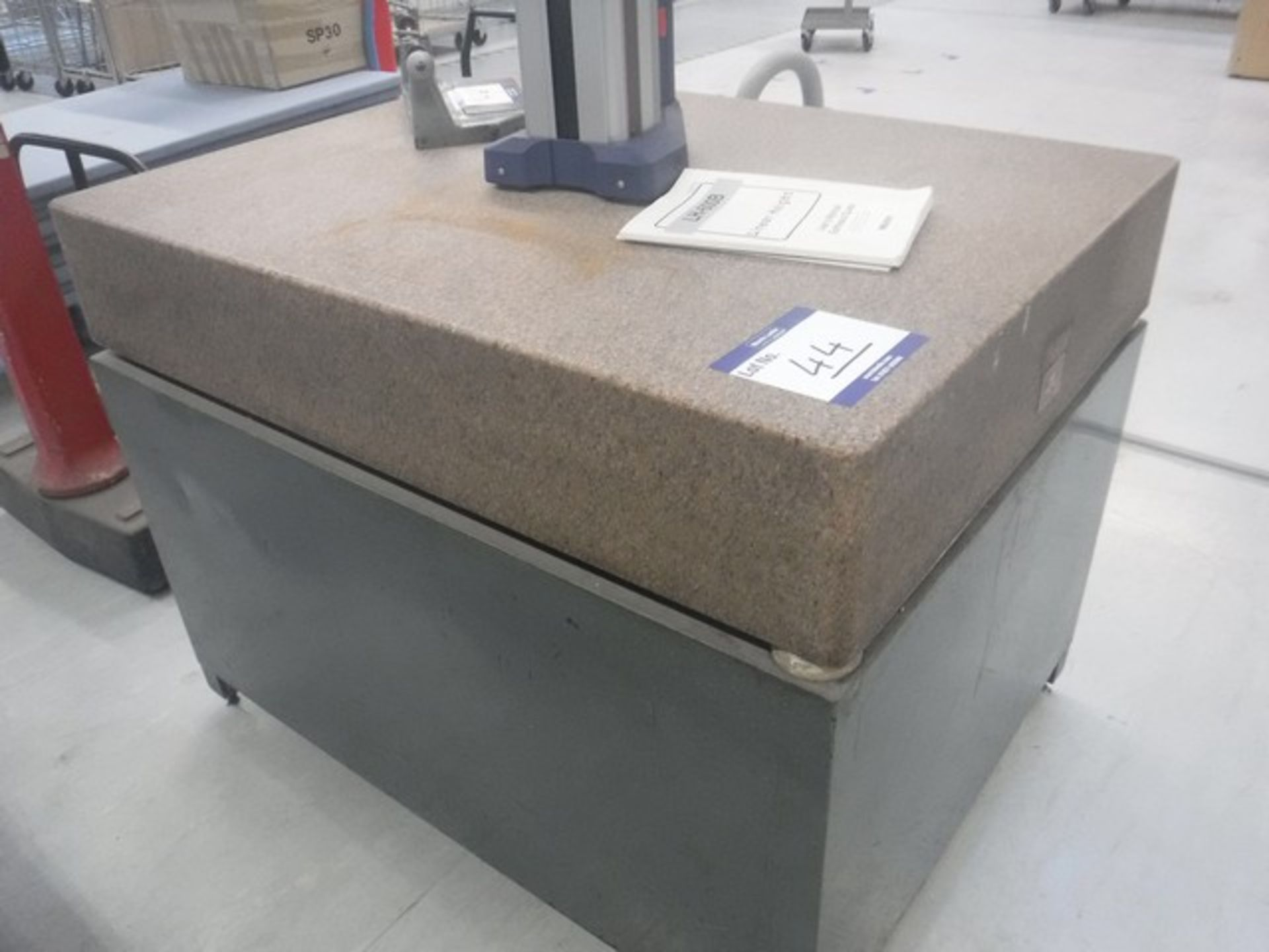 Lot 1044 - Herman solid marble surface plate and stand 4ft x 3ft