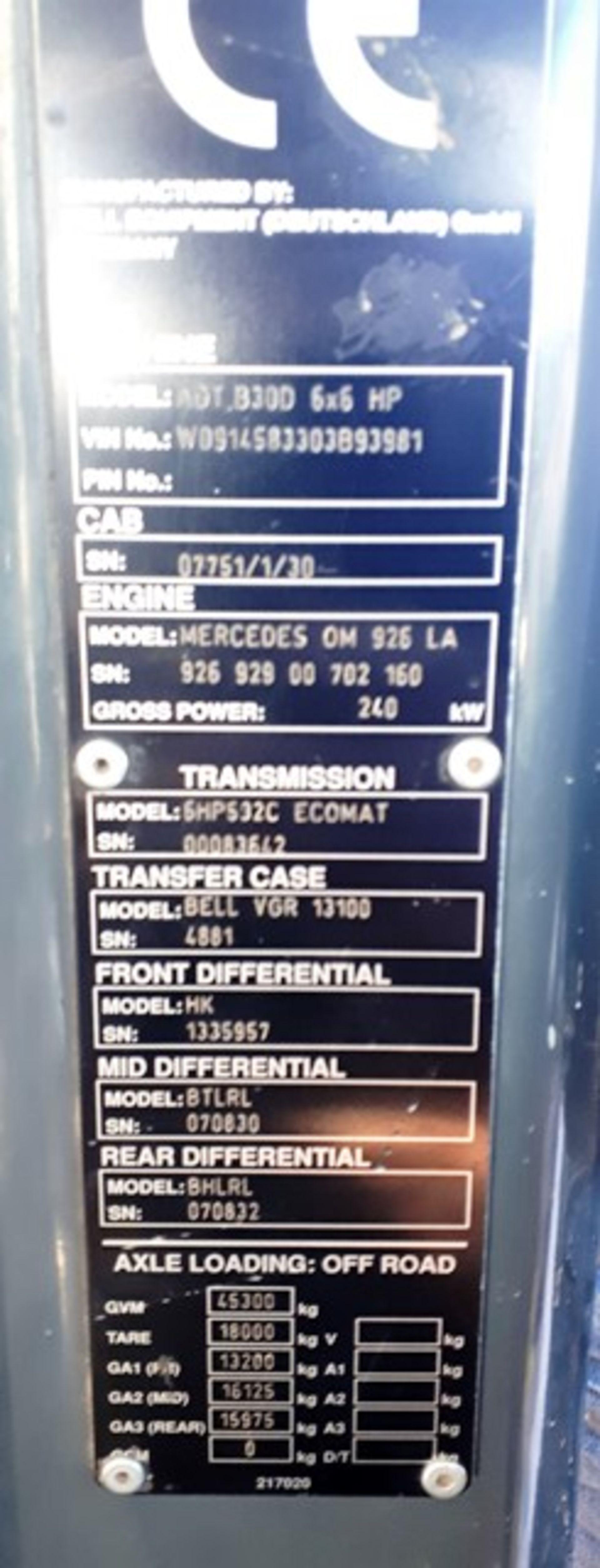 Auktionslos 833 - 2006 BELL ADT 30D 6X6 S/N926 929 00 702 160, 14630 hrs (not verified)