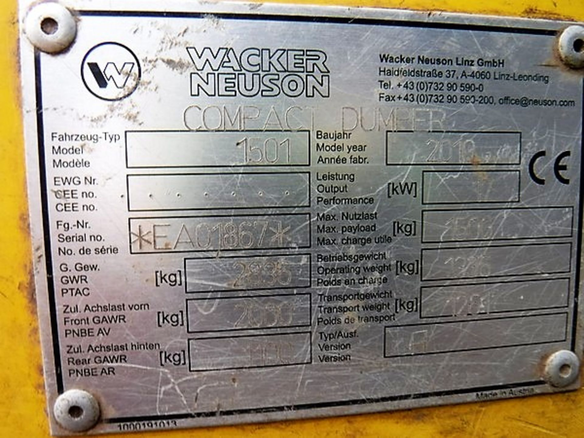 Auktionslos 834 - WACKER NEUSON 1501 HITIP DUMPER