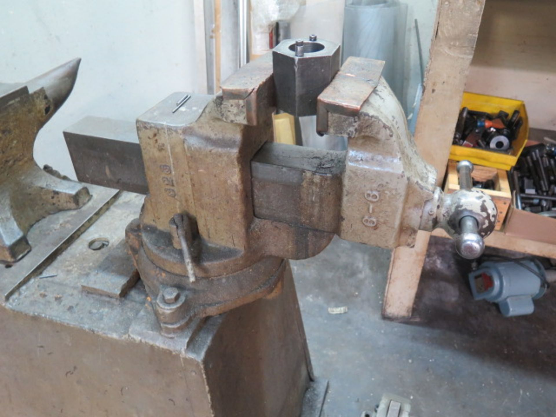 """Lot 49 - Anvil and 6"""" Bench Vise w/ Stand"""