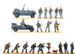 Deutschland um 1940, Waffen-SS, verschiedene Hersteller, sehr gute, schattierte Bemalung, 19