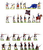 Siebenjähriger Krieg, Preußen, Grenadiere im Pelotonfeuer und Artillerie richtend, Kieler