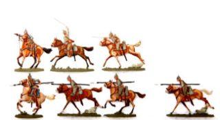 Deutsches Reich 1914-16, Kavallerie im Angriff, Boverat, sehr gute, schattierte Bemalung, 7 Figuren,