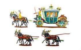 Sachsen 18. Jahrhundert, 6-Spännige Kutsche mit August dem Starken, Neckel, Provenienz: Sammlung
