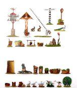 Tiere und Zubehör, passend zu 30-mm-Figuren, Provenienz: Sammlung Renate Kebbel, sehr gute bis