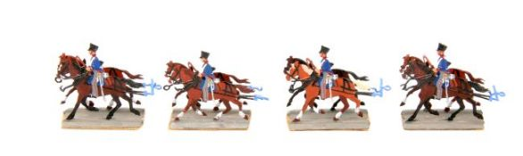 Preußen um 1810, reitende Artillerie, 4 Doppelgespanne im Trab, Neckel, saubere, unschattierte