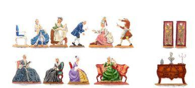 Europa, Barock, Morgentoilette, verschiedene Hersteller, Provenienz: Sammlung Renate Kebbel, sehr