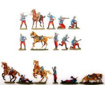 Frankreich 1914, Jäger zu Pferd, Boverat und Frauendorf, gute, schattierte Bemalung, 16 Figuren,