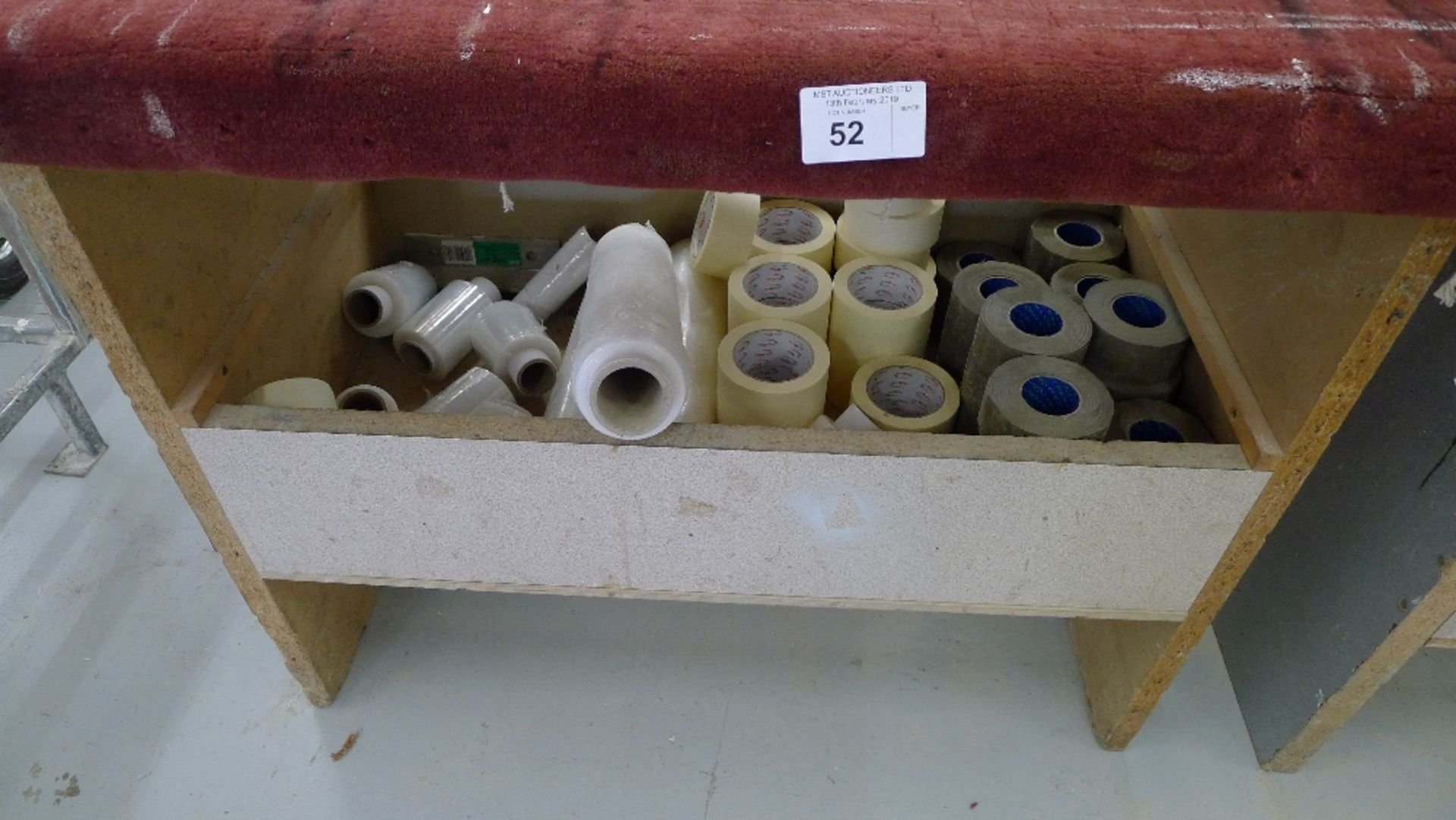 Lot 52 - 2 packaging benches and a quantity of various tape, shrink wrap etc