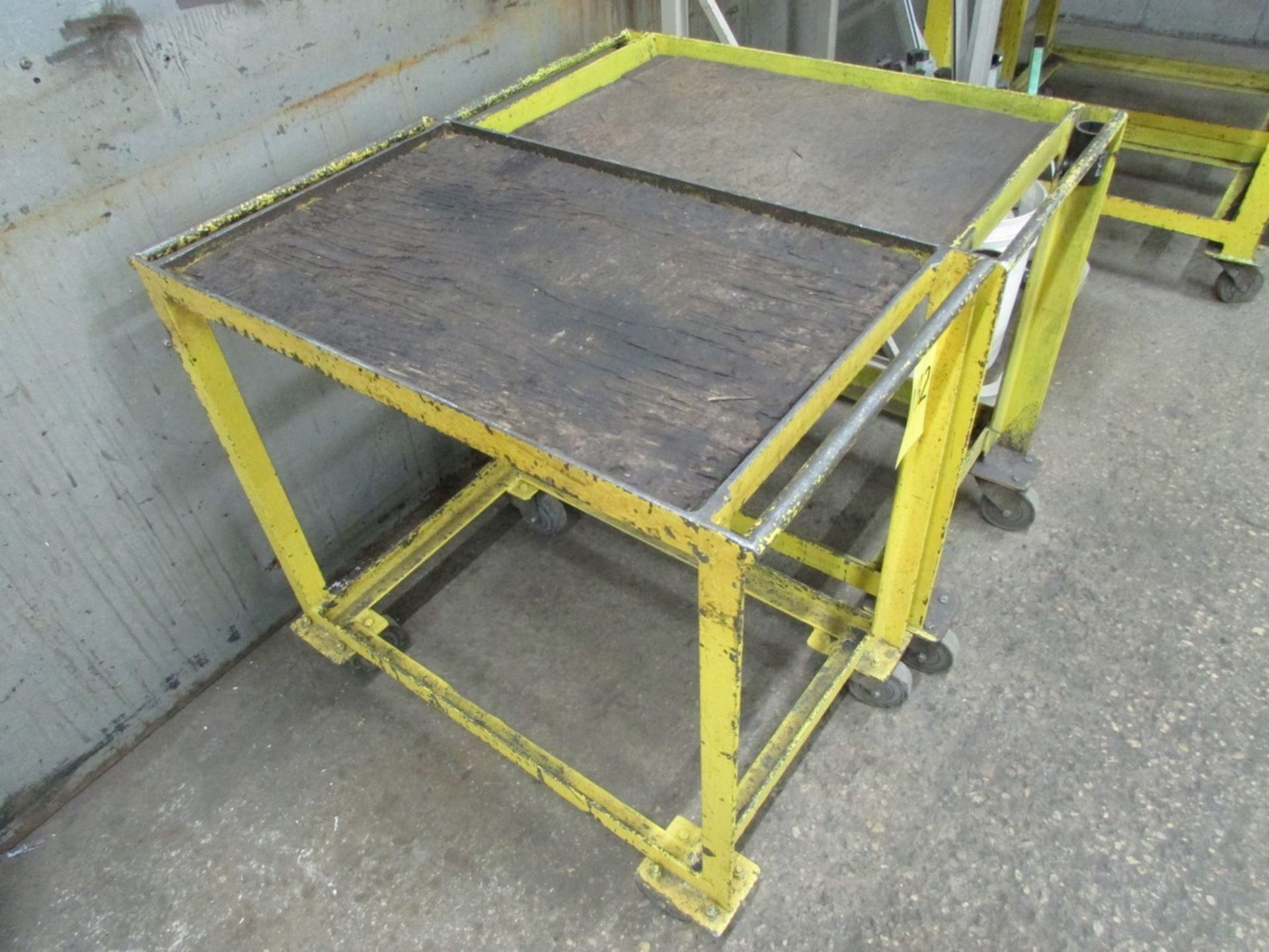 Lot 132 - Two HD small shop tables on wheels, 30'' x 18'' x 30''H