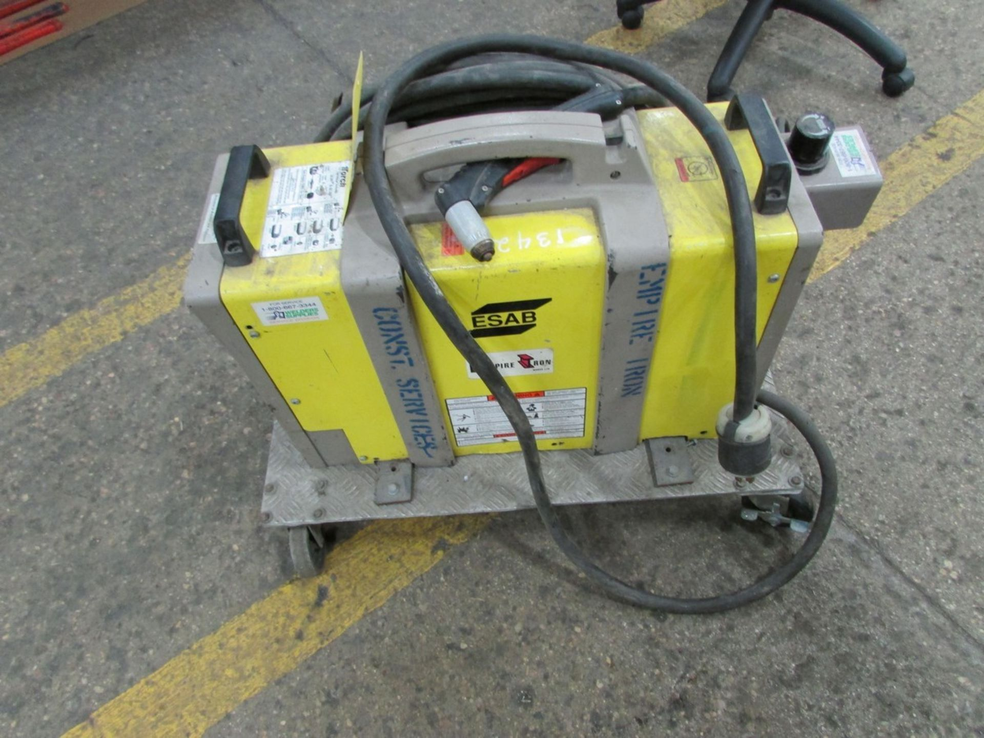 Lot 141 - ESAB suitcase plasma cutter, s/n RC-543010, mounted on small cart