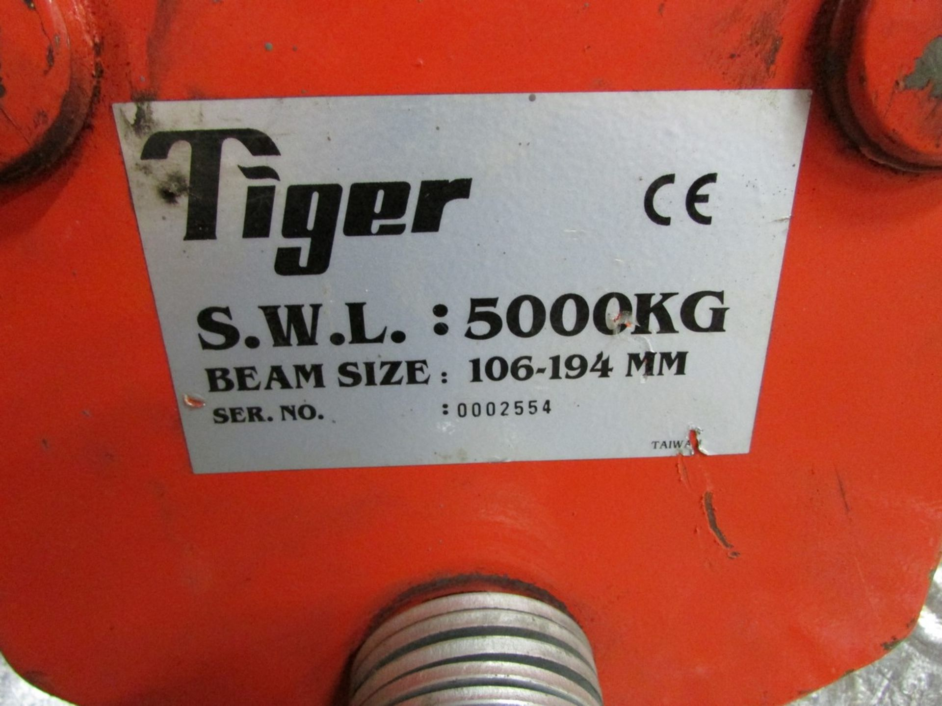 Lot 16 - Two 5,000 lb. Tiger beam trolleys