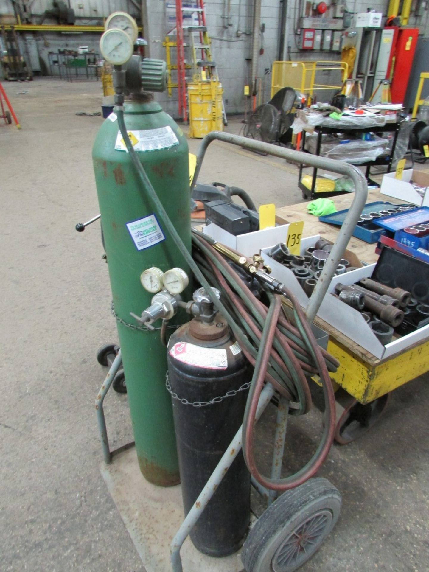 Lot 134 - Oxyacetylene cart w/ torch, hoses and regulator (tanks not included)
